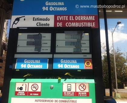 Kuba. Ceny benzyny.